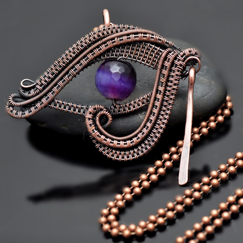 wire wrap pendant,copper jewelry,eye of horus,egyptian,eye of ra,egyptian magick,witchcraft,wiccan,pagan jewelry,copper necklace,nicole hanna jewelry