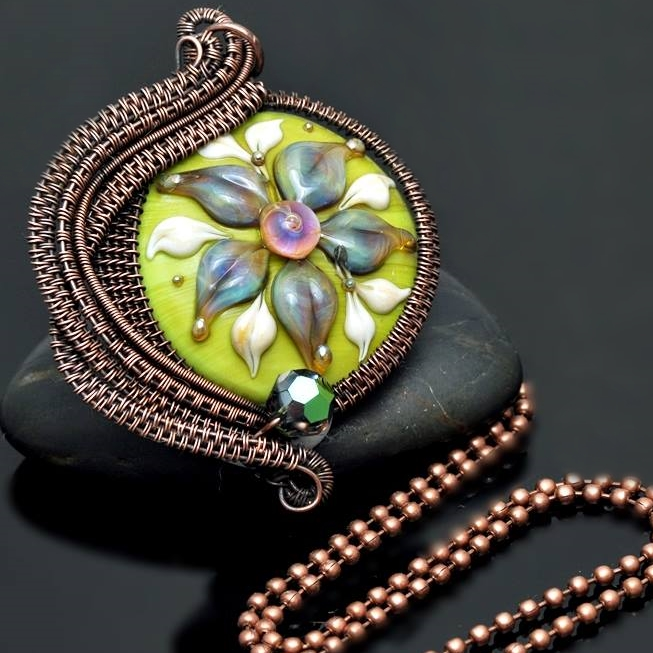 wire wrap pendant,copper pendant,copper jewelry,wire wrap necklace,copper necklace,nicole hanna jewelry,lampwork jewelry,wire wrap lampwork,artisan glass bead,spring flowers,wire wrap flower,green flower,flower jewelry,flower pendant,flower necklace
