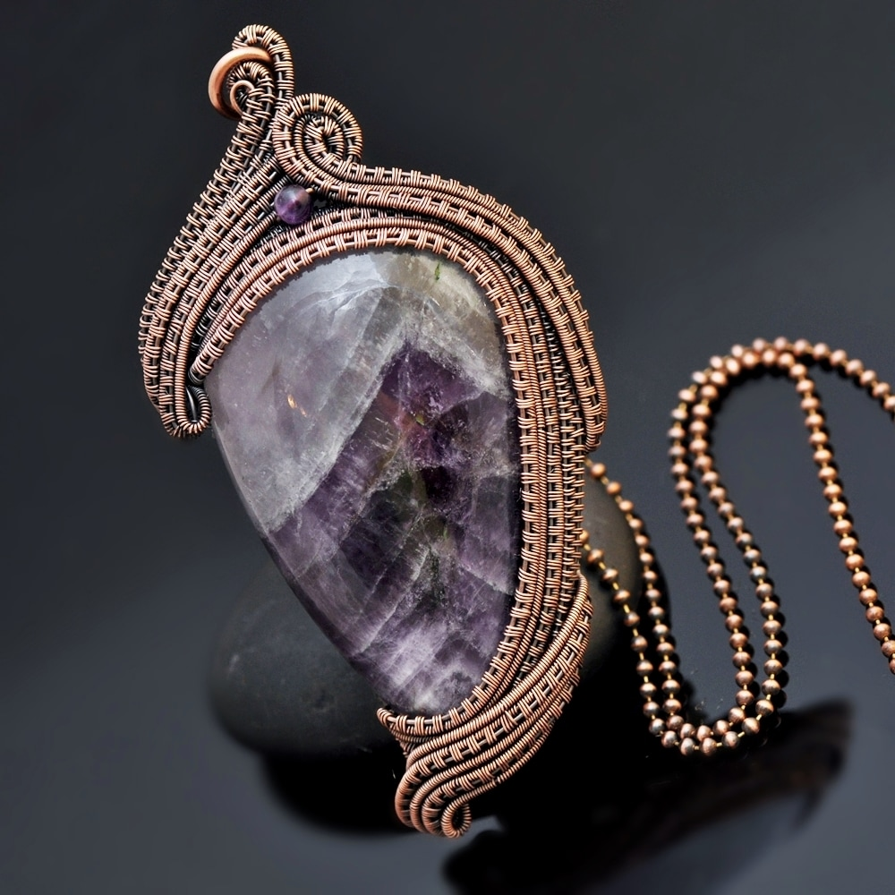 wire wrap pendant, wire wrapping, wire weaving, copper jewelry, wire wrap amethyst, amethyst necklace,  copper jewelry, copper pendant, nicole hanna jewelry, wire wrap amethyst