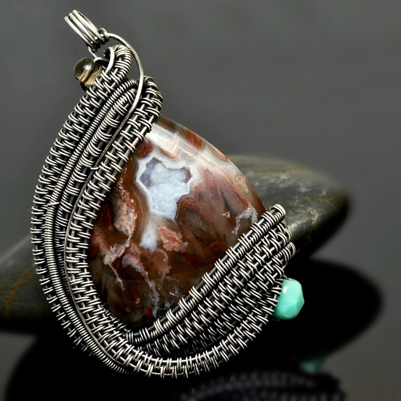 sterling silver pendant,turquoise jewelry,wire wrap pendant,wire wrap jewelry,wire wrap,wire work,wire weave,nicole hanna jewelry