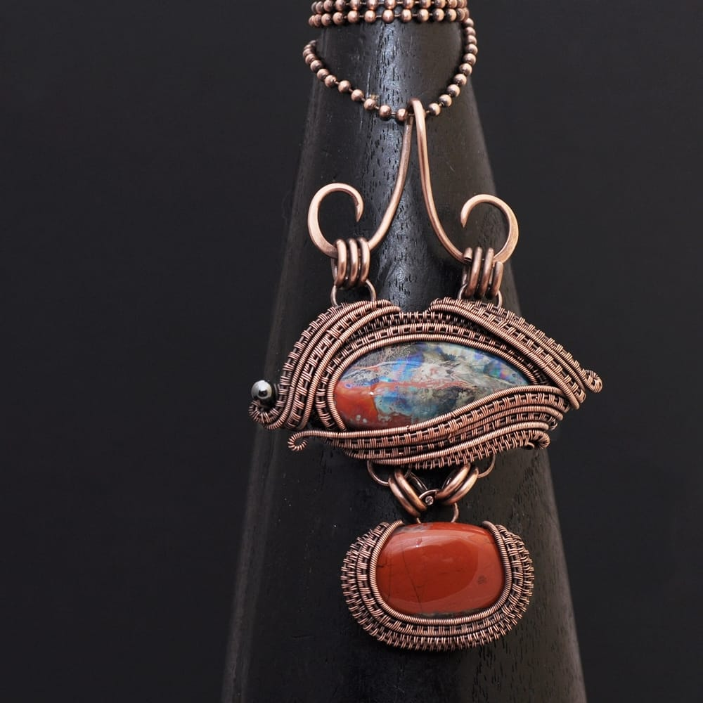 wire wrap, wire weaving, wire wrap pendant, wire wrap jewelry, copper jewelry, copper necklace, wire wrap necklace, handmade jewelry, one of a kind jewelry, artisan jewelry, nicole hanna jewelry, artisan glass necklace, lampwork necklace, lampwork pendant, wire wrap lampwork