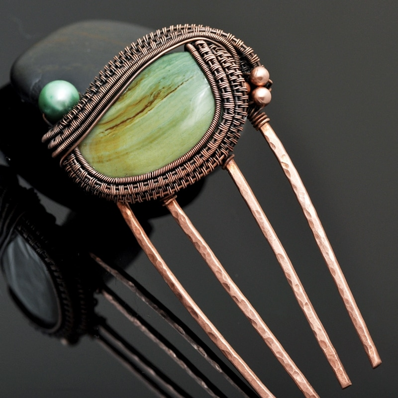 wire wrap hair pin, wire wrap hair comb, copper hair fork, imperial jasper hair comb, freshwater pearl hair comb