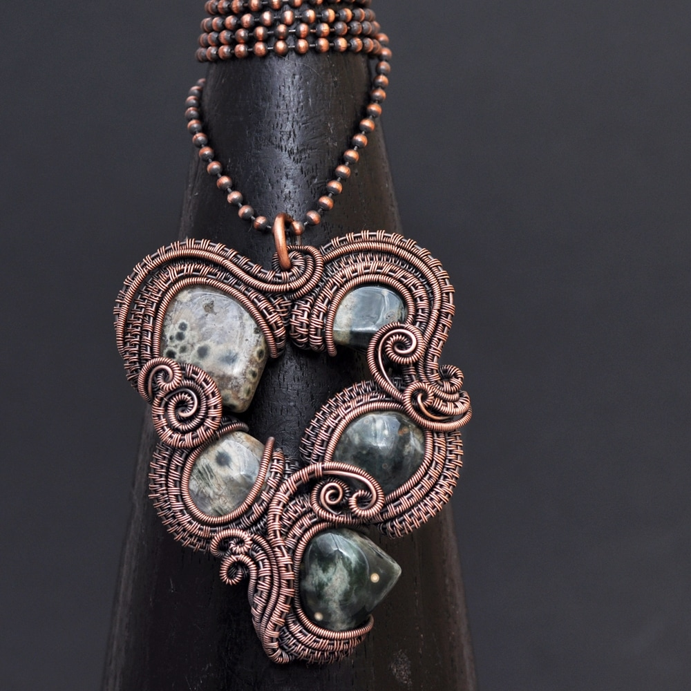 wire wrap pendant,wire weaving, copper jewelry, whimsy, bohemian, handcrafted, wearable art, art jewelry, creative jewelry, jewelry design